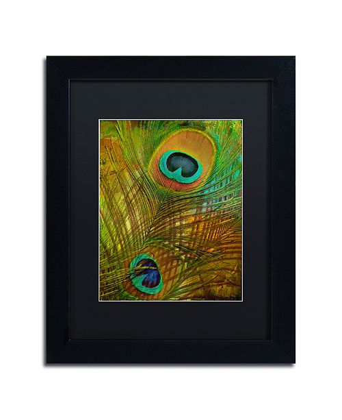 "Trademark Global Color Bakery 'Peacock Candy Ii' Matted Framed Art, 11"" x 14"""