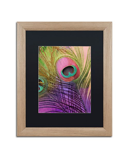 """Trademark Global Color Bakery 'Peacock Candy Iii' Matted Framed Art, 16"""" x 20"""""""