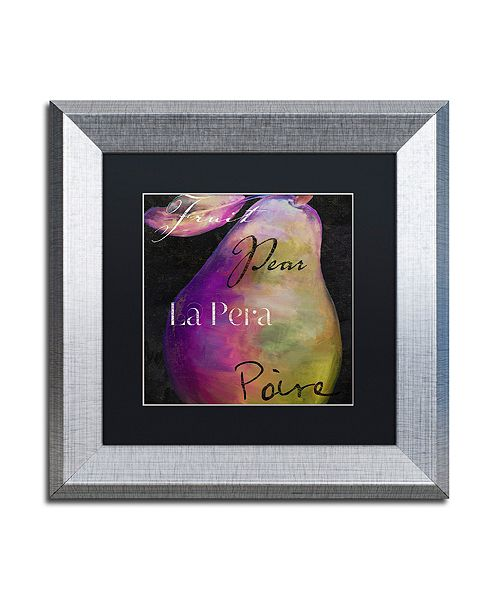 """Trademark Global Color Bakery 'Painted Pear Ii' Matted Framed Art, 11"""" x 11"""""""