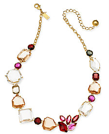 """kate spade new york Gold-Tone Multi-Crystal Collar Necklace, 17"""" + 3"""" extender"""