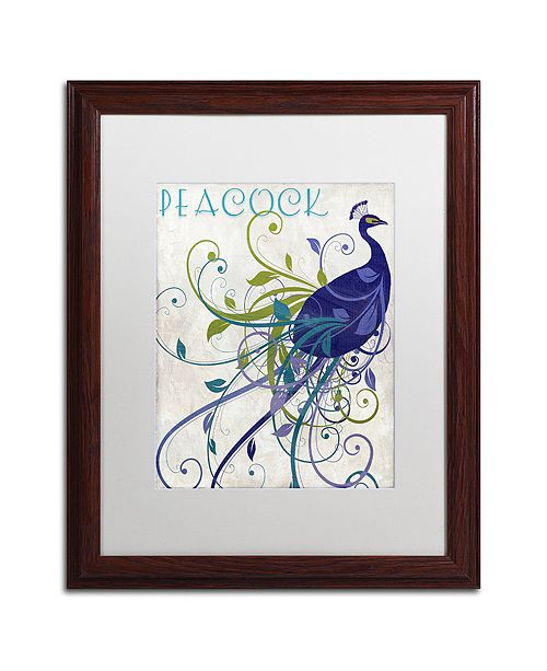 "Trademark Global Color Bakery 'Peacock Nouveau I' Matted Framed Art, 16"" x 20"""