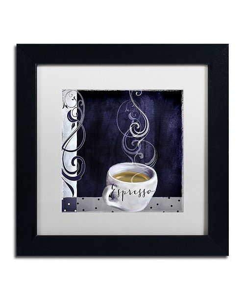 "Trademark Global Color Bakery 'Cafe Blue Iv' Matted Framed Art, 11"" x 11"""