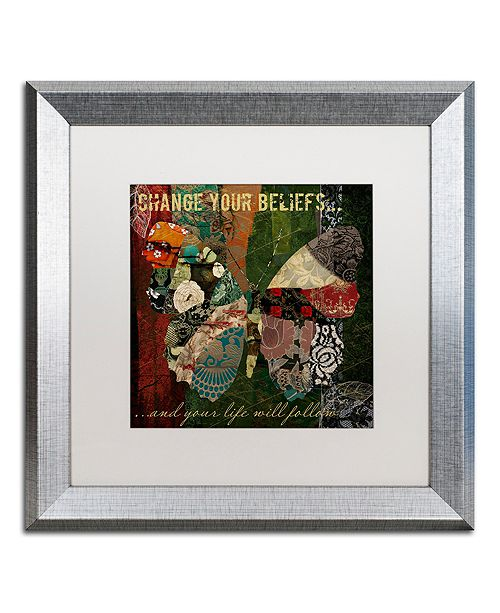 """Trademark Global Color Bakery 'Winging It Iii' Matted Framed Art, 16"""" x 16"""""""