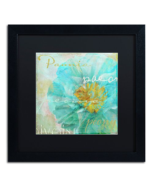 "Trademark Global Color Bakery 'Blue Peony Light' Matted Framed Art, 16"" x 16"""