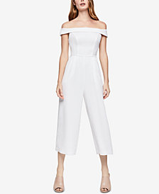 BCBGeneration Off-The-Shoulder Woven Cropped Jumpsuit