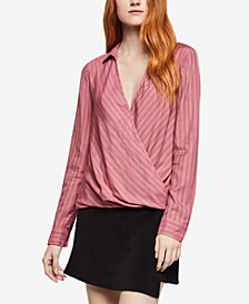 BCBGeneration Striped Surplice Top