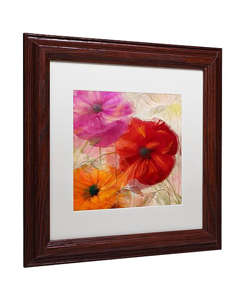 "Trademark Global Color Bakery 'Penchant For Poppies I' Matted Framed Art, 11"" x 11"""