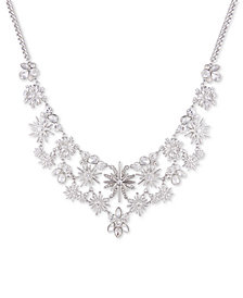 "GUESS Silver-Tone Crystal Starburst Statement Necklace, 18"" + 2"" extender"
