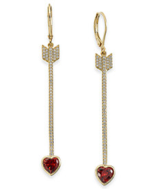 kate spade new york Gold-Tone Crystal Heart Arrow Linear Drop Earrings