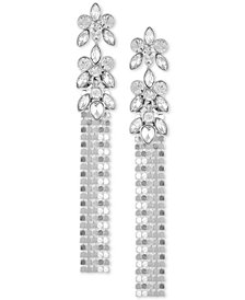 GUESS Silver-Tone Crystal & Mesh Chain Linear Drop Earrings