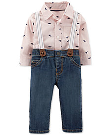 Carter's Baby Boys 3-Pc. Dino-Print Shirt Bodysuit, Suspenders & Jeans Set