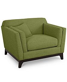 """Cistella 44"""" Fabric Armchair - Custom Colors, Created for Macy's"""