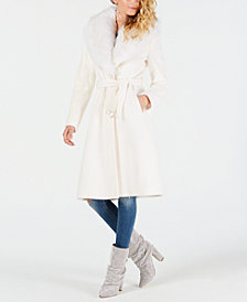 GUESS Maria Faux-Fur Collar Belted Coat