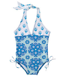 Masala Baby Girl's Halter One Piece India Rose Turquoise