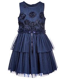 Nanette Lepore Big Girls Glitter Tulle 3D Flower Dress