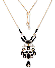 """GUESS Gold-Tone Crystal & Stone Bolo Pendant Necklace, 36"""" + 2"""" extender"""