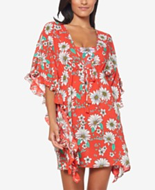 Jessica Simpson Printed Ruffle-Sleeve Cover-Up