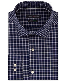 Tommy Hilfiger Men's Slim-Fit TH Flex Performance Stretch Non-Iron Navy Check Dress Shirt
