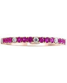 EFFY® Pink Sapphire (1/4 ct. t.w.) & Diamond (1/10 ct. t.w.) Ring in 14k Rose Gold