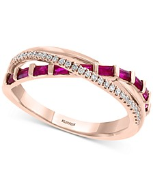 EFFY® Certified Ruby (1/2 ct. t.w.) & Diamond (1/10 ct. t.w.) Crisscross Ring in 14k Rose Gold