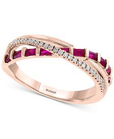 EFFY® Certified Ruby (1/2 ct. t.w.) & Diamond (1/10 ct. t.w.) Crisscross Ring in 14k Rose Gold