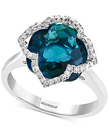 EFFY® London Blue Topaz (7-5/8 ct. t.w.) & Diamond (1/5 ct. t.w.) Ring in 14k White Gold