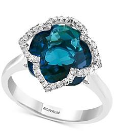 EFFY® London Blue Topaz (7-5/8 ct. t.w.) & Diamond (1/5 ct. t.w.) Ring in 14k White Gold