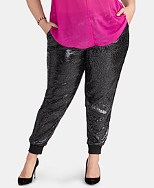 RACHEL Rachel Roy Plus Size Nisha Sequined Jogger Pants, Created for Macy's