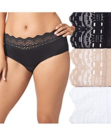 Women's 3-Pk. Plus Size Secret Hug Lace Trim Hipster Underwear 913J3