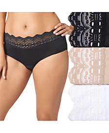 Olga Women's 3-Pk. Plus Size Secret Hug Lace Trim Hipster 913J3