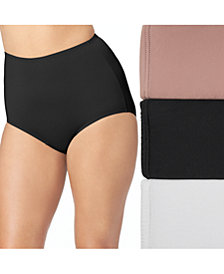 Olga 3-Pk. Women's Plus Size Without A Stitch Brief 23173J