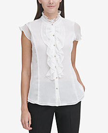 Tommy Hilfiger Ruffle-Trim Cap-Sleeve Blouse, Created for Macy's