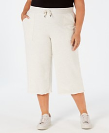 Ideology Plus Size Cropped Wide-Leg Pants, Created for Macy's