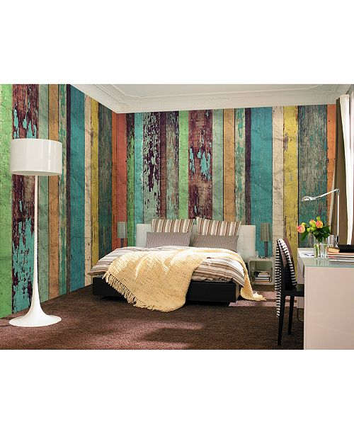 Brewster Home Fashions Colored Wood Wall Mural