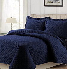 Cotton Flannel Solid Oversized King Quilt Set