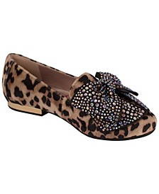 Jessica Simpson Youth Kids Leopard Cream Loafer with Bow