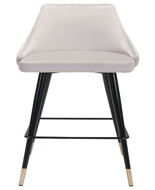 Zuo Piccolo Bar Chair Gray Velvet