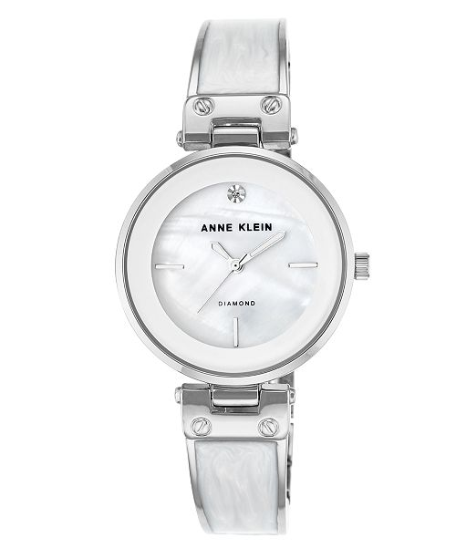617510e43 ... Anne Klein Genuine Mother of Pearl Dial with A Genuine Diamond Watch ...