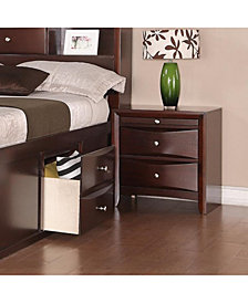 Pine Wood Night Stand With Two Drawers And Pull Out Tray, Brown