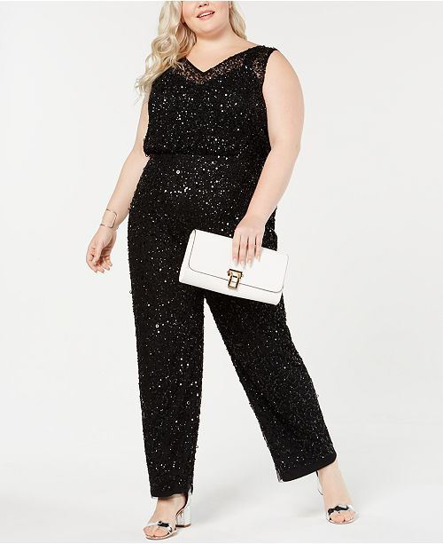 989c818675e Adrianna Papell Plus Size Beaded Jumpsuit   Reviews - Jumpsuits ...