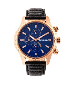 Breed Quartz Lacroix Chronograph Rose Gold And Dark Brown Genuine Leather Watches 47mm