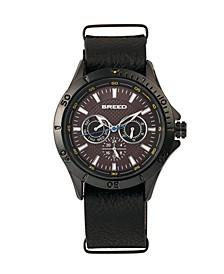 Quartz Dixon Black Genuine Leather Watches 43mm