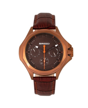 Quartz Tempe Brown And Bronze Genuine Leather Watches 43mm