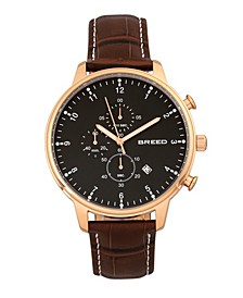 Quartz Holden Chronograph Rose Gold And Brown Genuine Leather Watches 45mm