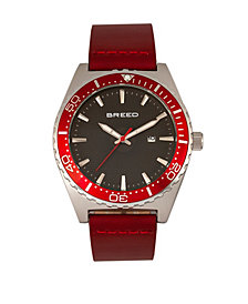 Breed Quartz Ranger Silver And Red Genuine Leather Watches 45mm