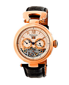 Heritor Automatic Ganzi Rose Gold & Silver Leather Watches 44mm