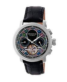 Heritor Automatic Aura Silver & Black Leather Watches 44mm