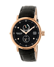 Heritor Automatic Leopold Rose Gold & Black Leather Watches 45mm