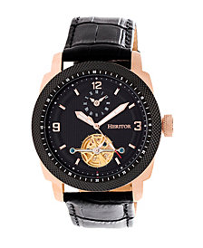 Heritor Automatic Helmsley Rose Gold & Black Leather Watches 45mm