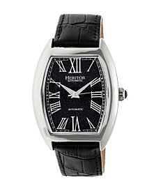 Heritor Automatic Baron Silver & Navy Leather Watches 40mm